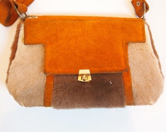 Vintage 60s 70s boho tan brown suede and fur handbag with suede strap and gold tone metal clasp