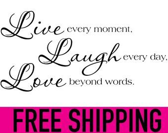 LIVE LAUGH LOVE wall vinyl sticker home decor art 10 x 20 inch