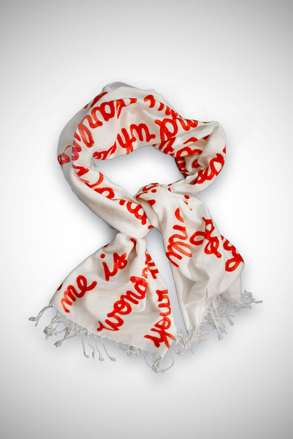 Carrying Your Heart Handwritten Script Scarf- Love Poem by ee cummings