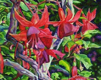 Giclee Canvas PRINT - Red Flower 5x7 - Hanging Fuchsia - Signed/Editioned