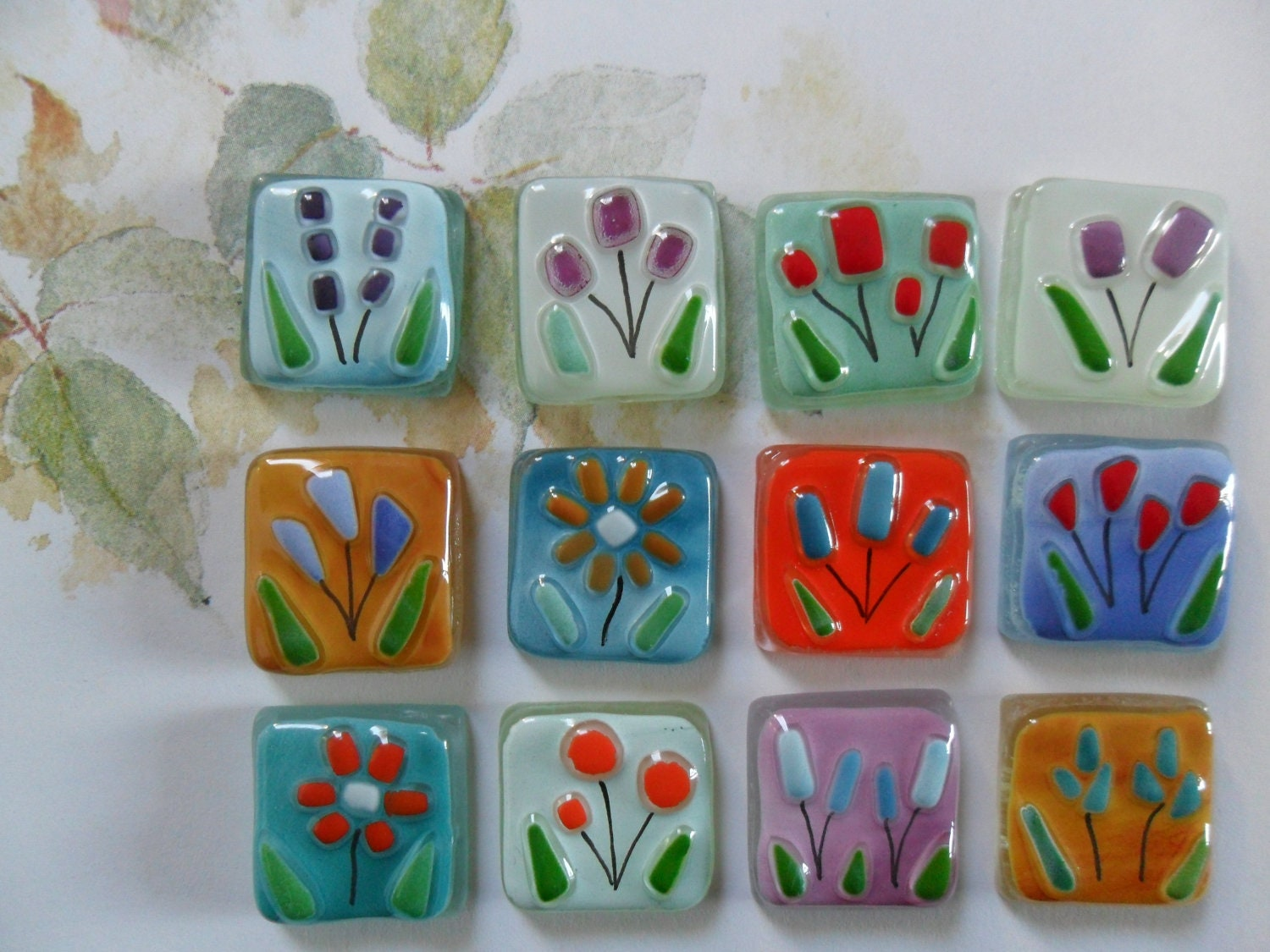 Fused glass tiles flowers floral handmade for mosaic art for Projects with glass
