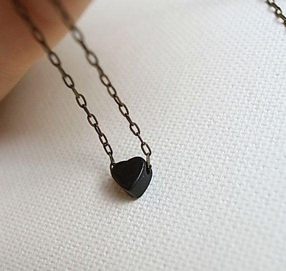 Tiny matt black heart charm necklace