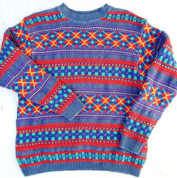 Ugly Chrismas Sweater, Tacky Gaudy Bright Colorful Argyle Stripes Womens Holiday Novelty Pullover Petite Small
