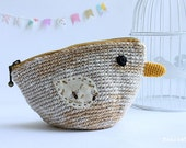 Crocheted bird linen yarn pouch, Golden yellow and light brown colors, everyday use