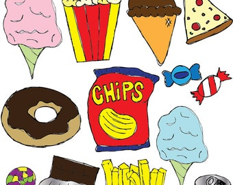 Junk Food Clipart Set INSTANT DOWNLOAD