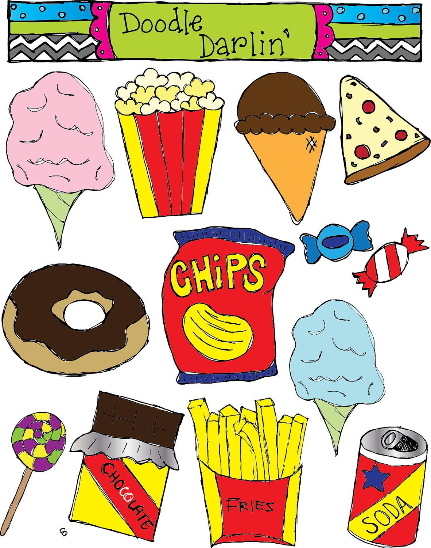 Junk Food Clipart Set INSTANT DOWNLOAD by DoodleDarlin on Etsy