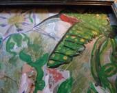Freedom like a hummingbird's 12x15 mixed media painting framed
