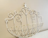 Wrought White Rusted Painted Iron Wall Hanging Garden Fleur De Lis