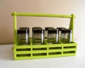 Vintage Modern Upcycled Lime Green Wooden Carrier Black Mod Glasses