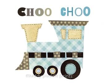 nursery decor, nursery art, boys room art, train art, kids room wall art - choo choo train