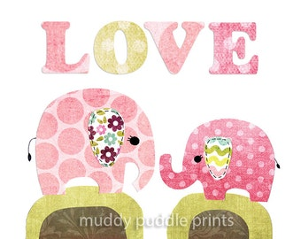 nursery art print, Kids room wall art, Nursery decor, Baby Nursery, Elephant Love
