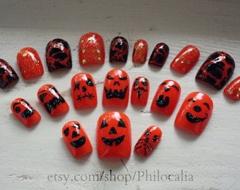 Halloween Jack o Lantern Pumpkin Nails