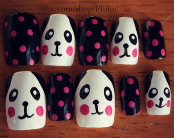 Cute Pink Panda Bear Polka Dot Nails
