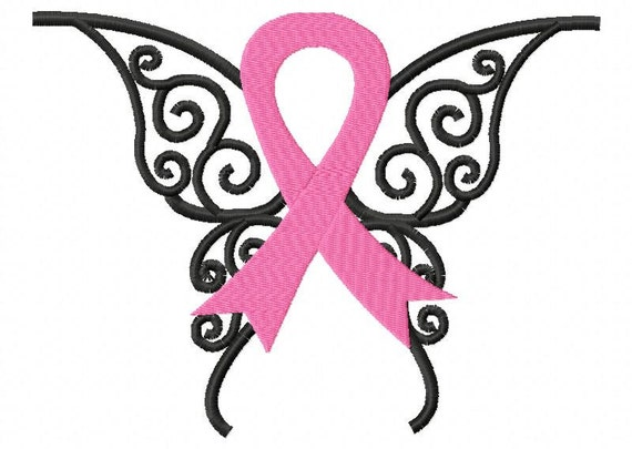 Awareness Ribbon Butterfly Embroidery Design Instant Download