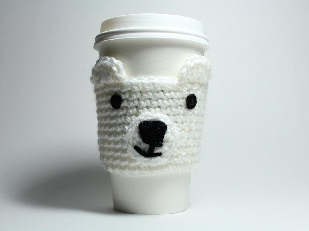 Polar bear coffee cozy crochet animal drink sleeve can holder zoom geotapseo Gallery