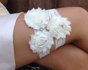 Ivory Wedding Garter Set, Bridal Garter Set - Ivory Garter, Keepsake Garter Toss Garter, Ivory Wedding Garter, Ivory Wedding Garter Belt