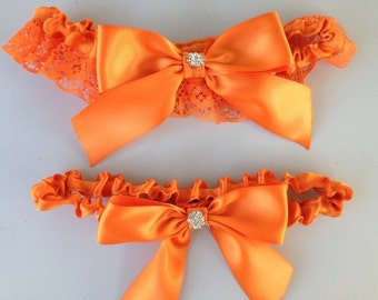 Orange Wedding Bridal Garter Set ... Bridal Garter and Toss Garter with Rhinestone details...
