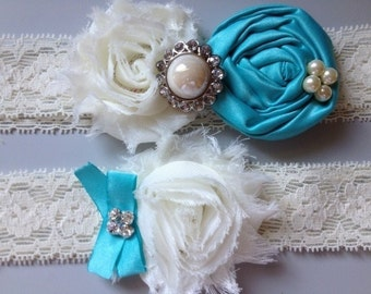 Something Blue Wedding Garter Set - Blue and Ivory Garter Set Rhinestone Detail...