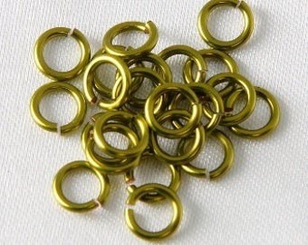 REDUCED TO CLEAR 100 pcs - 5mm Outside Diameter Enameled Copper Jump Rings Chartreuse
