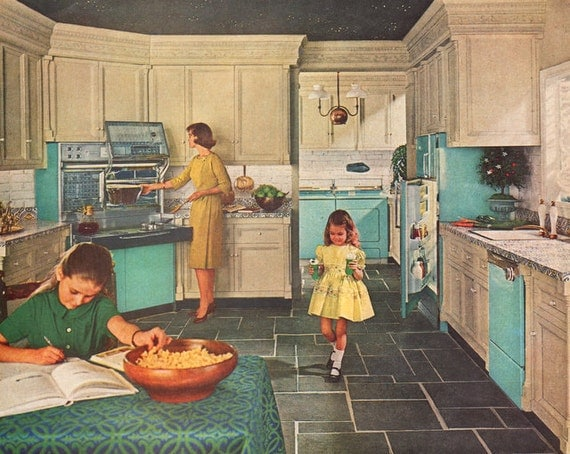 1963 Retro Kitchen Ad Turquoise Frigidaire By Vividiom On Etsy