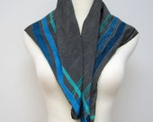 Vintage Anne Klein silk scarf / black and white / teal blue green stripes /// FREE shipping to Canada & USA