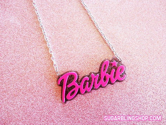 FREE US SHIPPING hot pink and black barbie necklace