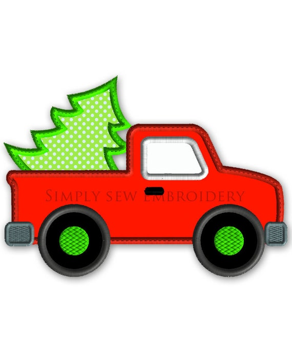 Red Pickup with Christmas Tree Machine Applique Embroidery