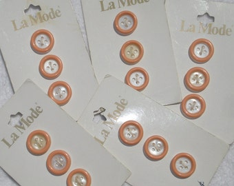 Peach and White Vintage Buttons on Cards, 4 cards of 3 buttons each, 12 buttons