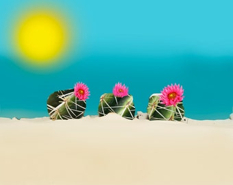 "Digital Gloss Print 13.5""x11"".  ""Three Cactuses"""