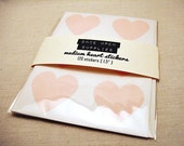 "48 Pastel Pink Heart Stickers - 1.5"" . Envelope Seals . Gift Wrap . Pink Stickers . Wedding Stickers Labels Invitation Seals"