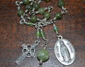 Celtic Irish Our Lady of Knock Unbreakable Jade Bracelet, Chaplet