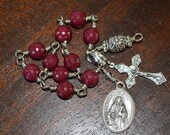 Ruby Jade Unbreakable Rosary Bracelet/Chaplet/Choice of Saint Medal