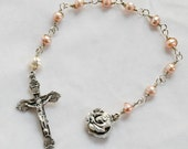 Southsea Pearl Rose Locket/Chaplet, Catholic Rosary, Choice of Color and Wire Type