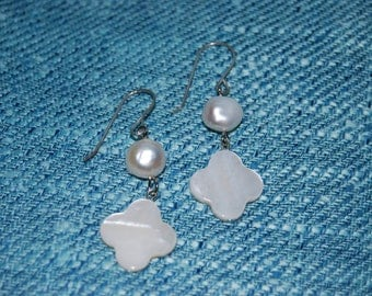 Fresh Water Pearls and Mother of Pearl Dangling Earrings Wedding BridesmaidS Bridal Jewelry