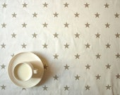 Tablecloth white with beige stars Soft Cotton or Moisture resistant cover ,also napkins , runner , pillow , curtains available, great GIFT