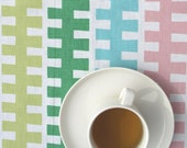 Table runner white colorful stripes Striped table runner , also pillow cover , napkins available great GIFT