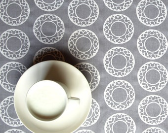 """Table runner 66"""" x 18"""" and 4 napkins 12"""" x 12"""" grey with white circles and hearts pattern, also tablecloth pillows available, great GIFT"""