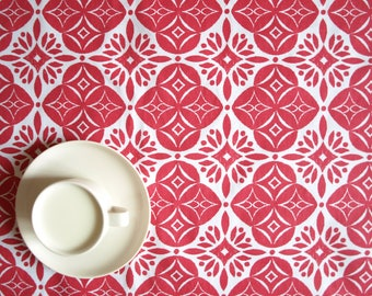 Tablecloth white red flowers Scandinavian Design , also table runner , napkins , curtains available, great GIFT