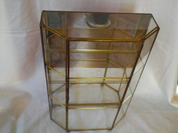 Display Shelves For Collectibles >> Vintage Glass Curio Display Case Brass miniature