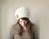 Autumn Hat Chunky Textured Bumpy Pebble Slouch Hat  with Wooden Button Tab - Vanilla Cream ( Made To Order ) - FallCode