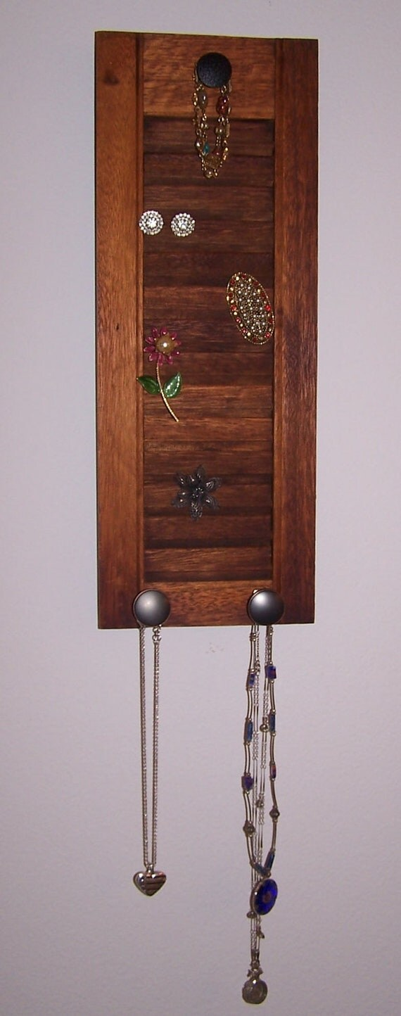 Jewelry Holder - Reclaimed Shutter - Re-purposed Shutter - Wooden Peg Rack - Salvaged Hardware Peg Rack