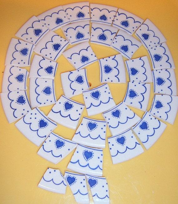 Broken China Mosaic Tiles, Hand Cut Tiles, Jewelry Supplies, Mosaic Supplies, Blue Hearts