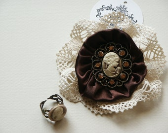 Cameo brooch  and ring ladylike, vintage jewelry set , lace jewel, Valentin is day gift