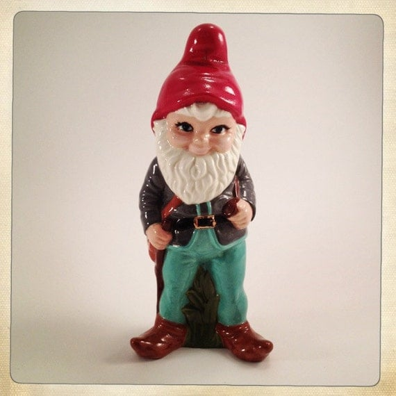 vintage garden gnome ceramic over a foot tall