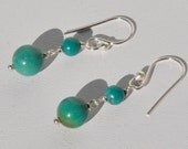 Genuine Turquoise Dangle Earrings in Sterling Silver