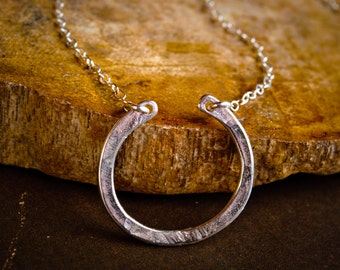 Horseshoe Necklace - Sterling Silver Simple Hammered Horseshoe Pendant - Minimalist Jewelry, Simple Silver Necklace
