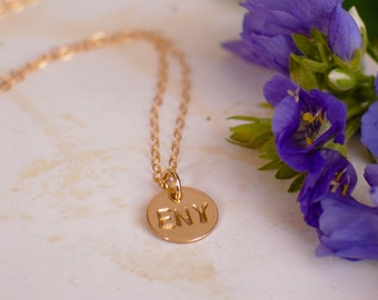 Three Initial Necklace - Two or Three Letters on One Disc - Tiny Cute Gold Filled Pendant - or Three Letter Name Necklace