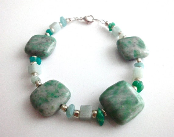 Mint green gemstone bracelet with Jade and Amazonite square and cube beads