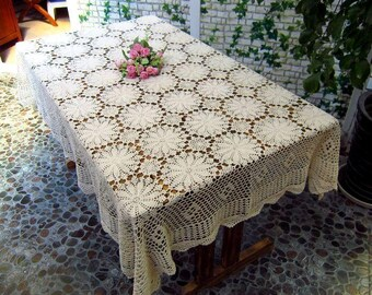 51X67 Inch Crocheted Tablecloth  Rectangular  Beige