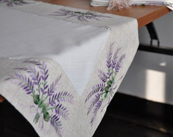 Lavender Embroidery  Hemstitch Drawnwork Table Runner